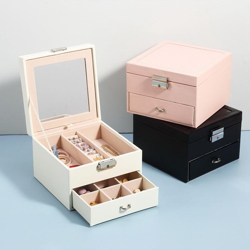 Bolsas de joyería, bolsas Caja de cosméticos Cajón de almacenamiento Pendiente de pendiente Pantalla de acabado