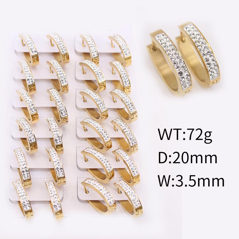 2021 Neue Design Durchmesser 20mm Weibliche Schmuck Reifen Ohrringe Oval Glänzende Kristall Ohrringe Frau Hochzeit Geburtstagsgeschenk JSJ77