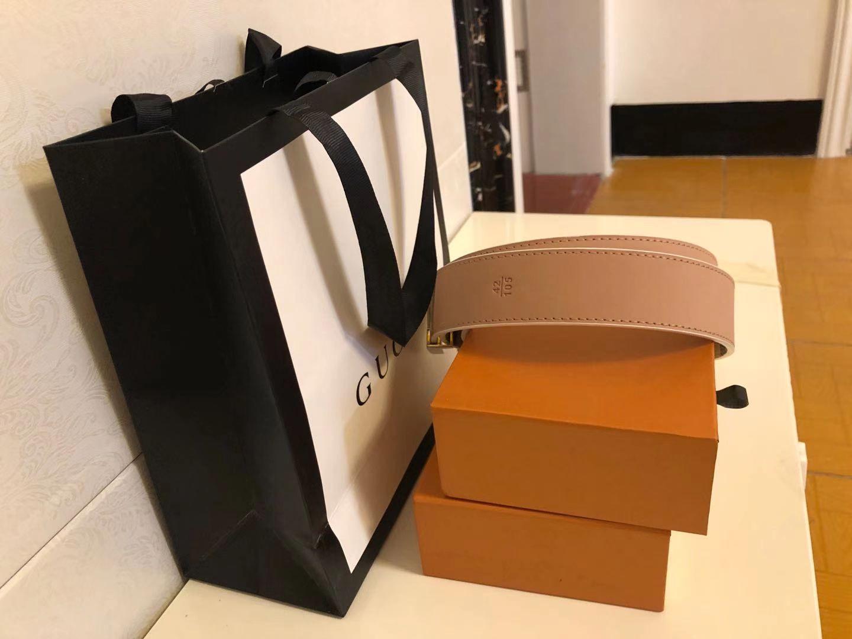 Cinture da donna cintura cintura nero in vera pelle nera in oro nero fibbia liscia con scatola arancione sacchetto di polvere arancione borsa regalo arancione 35-46
