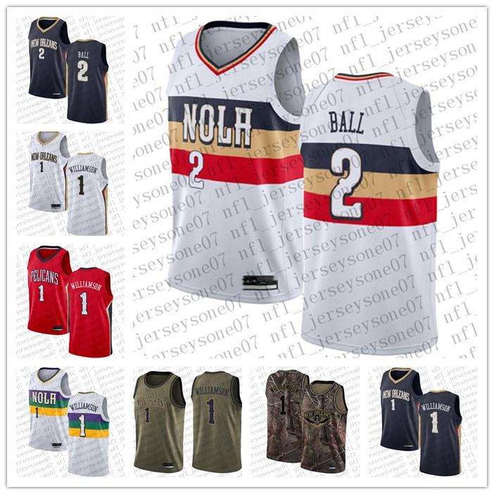 Homens mulheres jovens Nova OrleãesPelicanos.1 Zion Williamson # 2 Lonzo Ball Camo Basquetebol Boningman Realtree Collection Custom Jersey