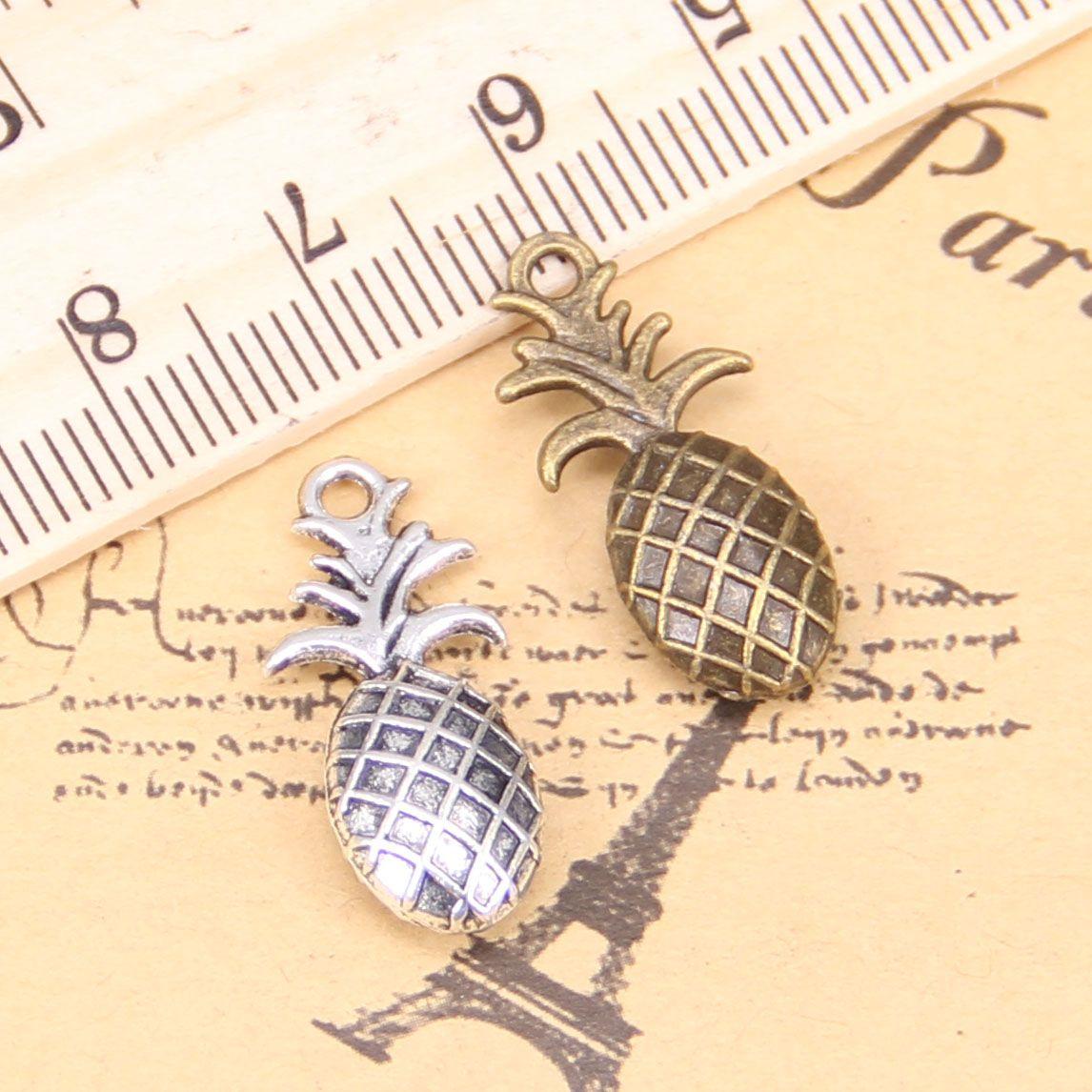 48pcs Charms pour bijoux Fabrication d'ananas double face 23x10mm Antique Pendentifs plaqués argentés DIY Collier en argent tibétain bricolage