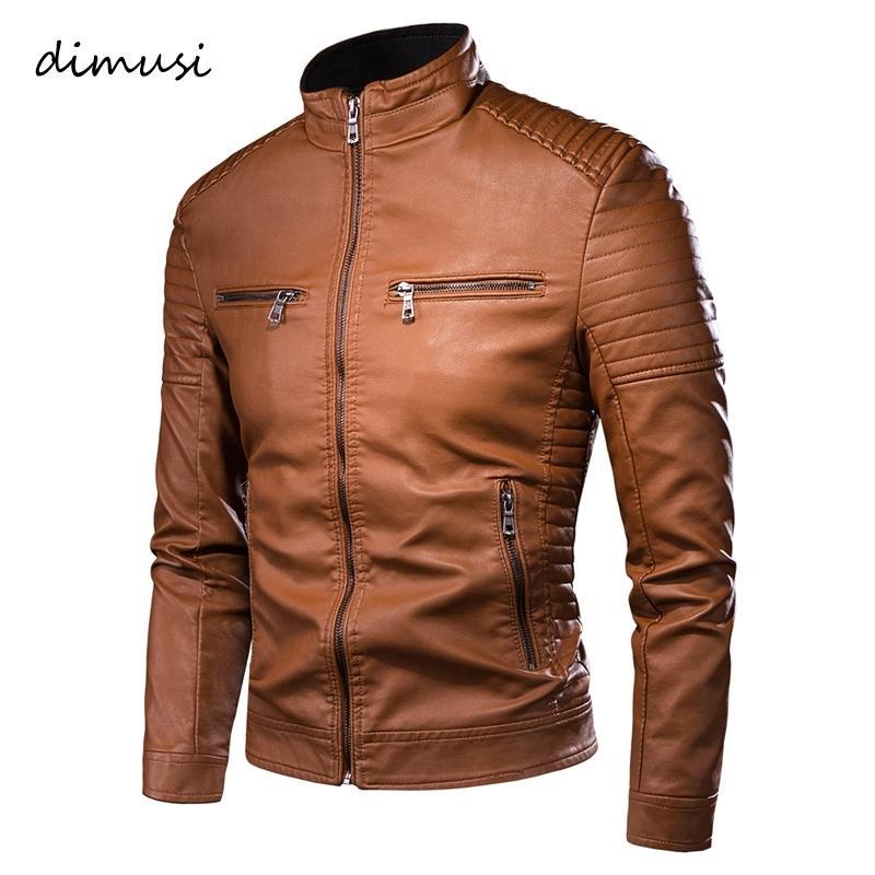 Dimusi erkek Ceket Moda Erkek Vintage Deri Ceketler Rahat Erkekler Faux Deri Motosiklet Ceketler Biker Fermuar Cepler Mont T200502