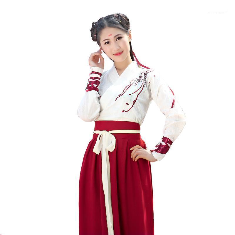 Sahne Giymek 2021 Çin Halk Dans Elbise Kadınlar için Hanfu Ulusal Kostüm Peri Elbise Tang Hanedanı Antik Kostümleri Kostümleri1