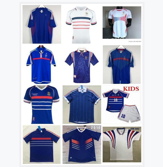 Homme + Kids Kit 1998 Jerseys de football Vintage rétro # 10 Zidane # 12 Henry Maillot de pied 98 Uniformes maillot de football maillot