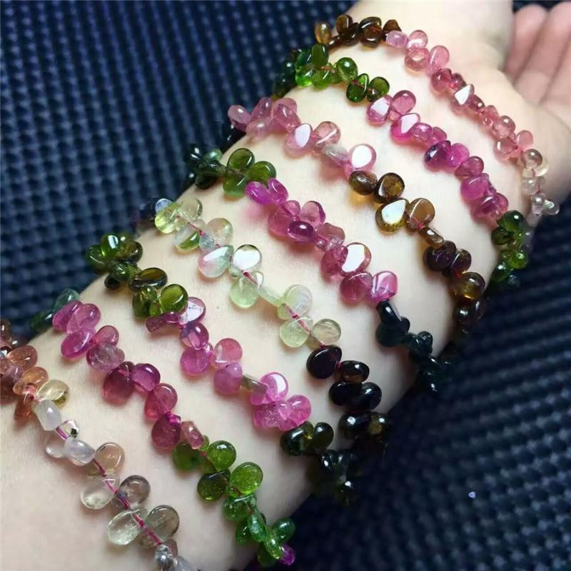 Mode lange Halskette für Frauen Femme Geschenk Bunte echte natürliche Turmalin-Quarz-Kristall-Halskette