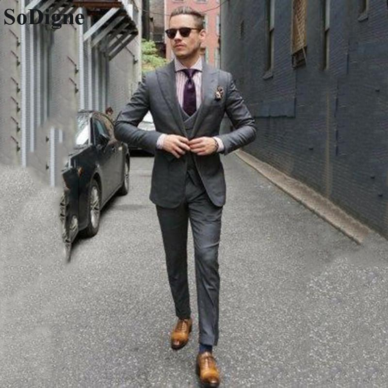 Erkekler Damat için Sodigne Slim Fit Mens Suits 3 Piece Düğün Kostüm Suit Smokin Groomsmen Parti Düğün smokin Takımları