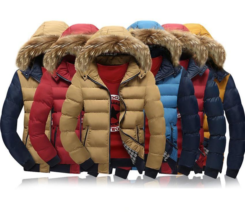 Collare cappotto di pelliccia degli uomini di modo inverno Zipper Spesso Patchwork Windbreaker Outwear cotone caldo cappotto del rivestimento rivestimento esterno lunga da uomo