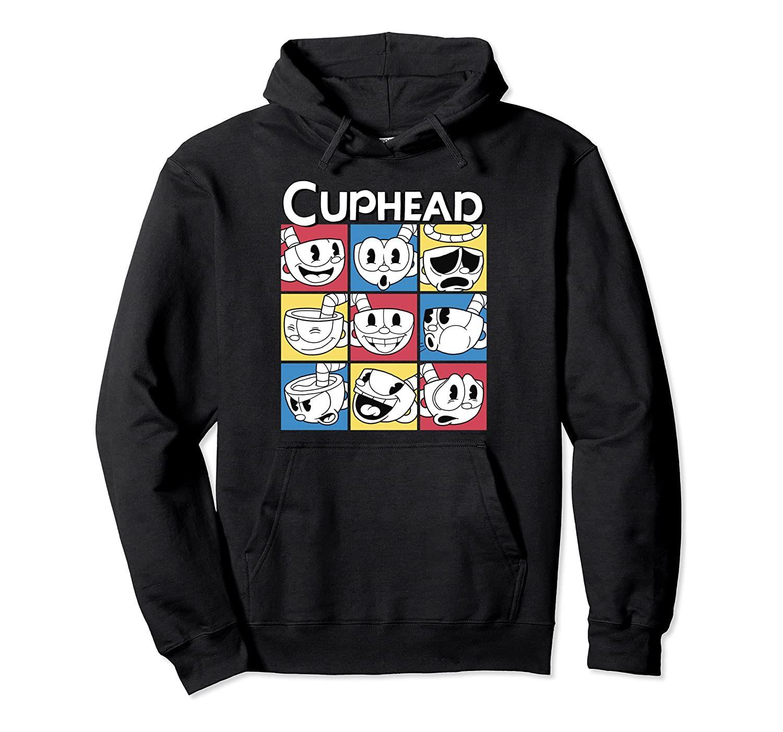 Cuphead nueve cuadrados de diferentes emociones gráfico con capucha unisex del tamaño S-5XL con Color Negro / gris / azul marino / azul real Heather / Oscuro