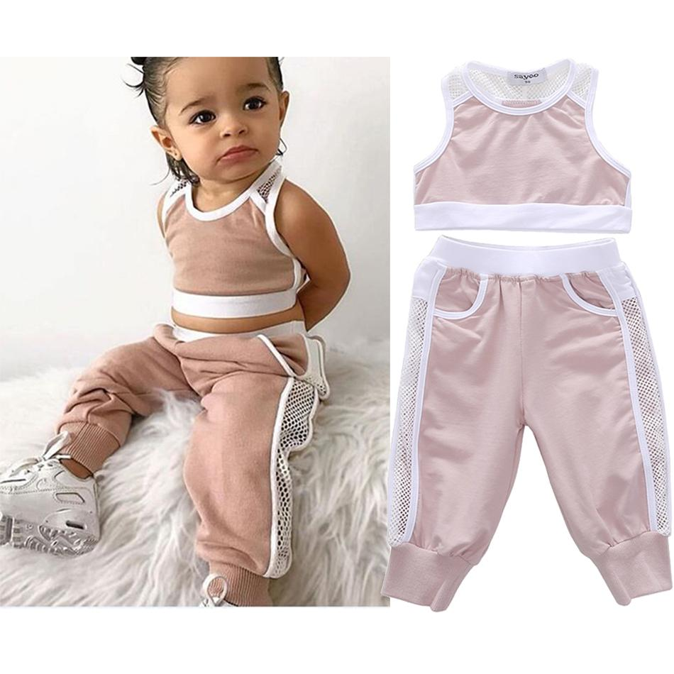 2020 Summer Toddler Girls Clothes Sets Pink Sports Vest Tank Tops+Long Pants Casual Baby Girl Outfit Kids Tracksuits T200707