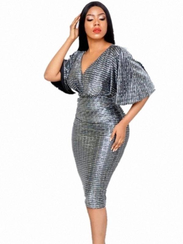 Vender Hot Summer Sleevees profunda V Neck Partido Mulheres escritório Vestido Lady Rilling alargamento Sexy Lápis Elastic Vestidos Festa De Vestidos XaRQ #