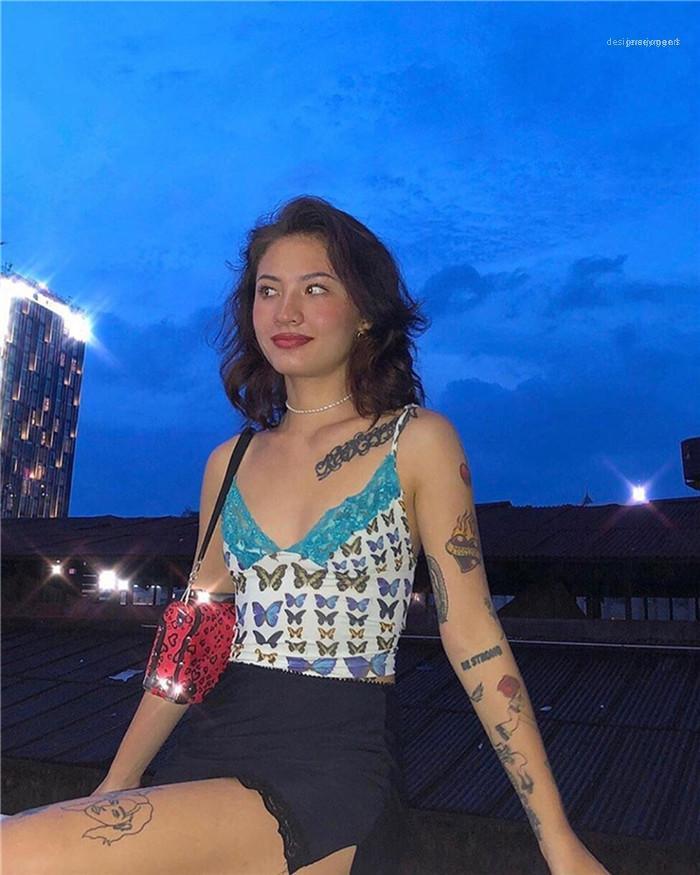 Womens Sexy White Lace Coletes Verão Designer Mulher Borboleta Borboleta Tintura V-Pescoço Camis Mulheres Spaghetti Strap Backless Tees