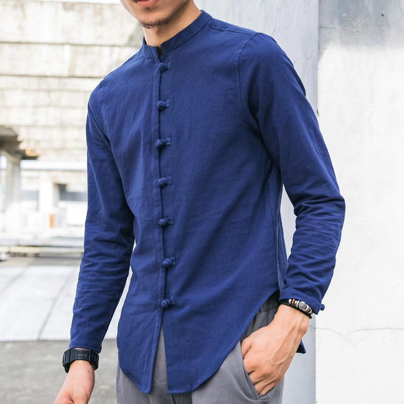 JDDTON Nouveaux Chemises en lin de coton pour hommes Vêtements à manches longues Casual Chinois Style Cardigan Lâche Homme Shirt Streetwear Outwear Je278