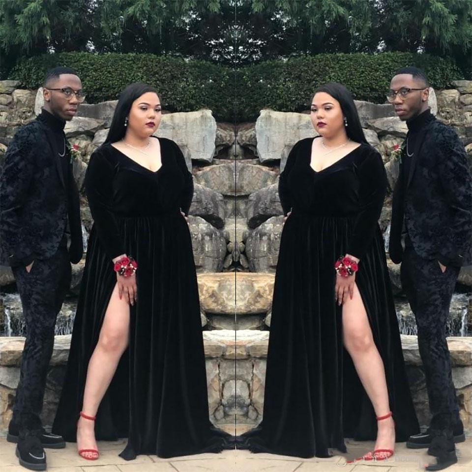 Plus Size Black Velvet Evening Dresses High Waist Sexy Thigh Side High Split Deep V-Neck Long Prom Dress Women Formal Evening Gowns 2021