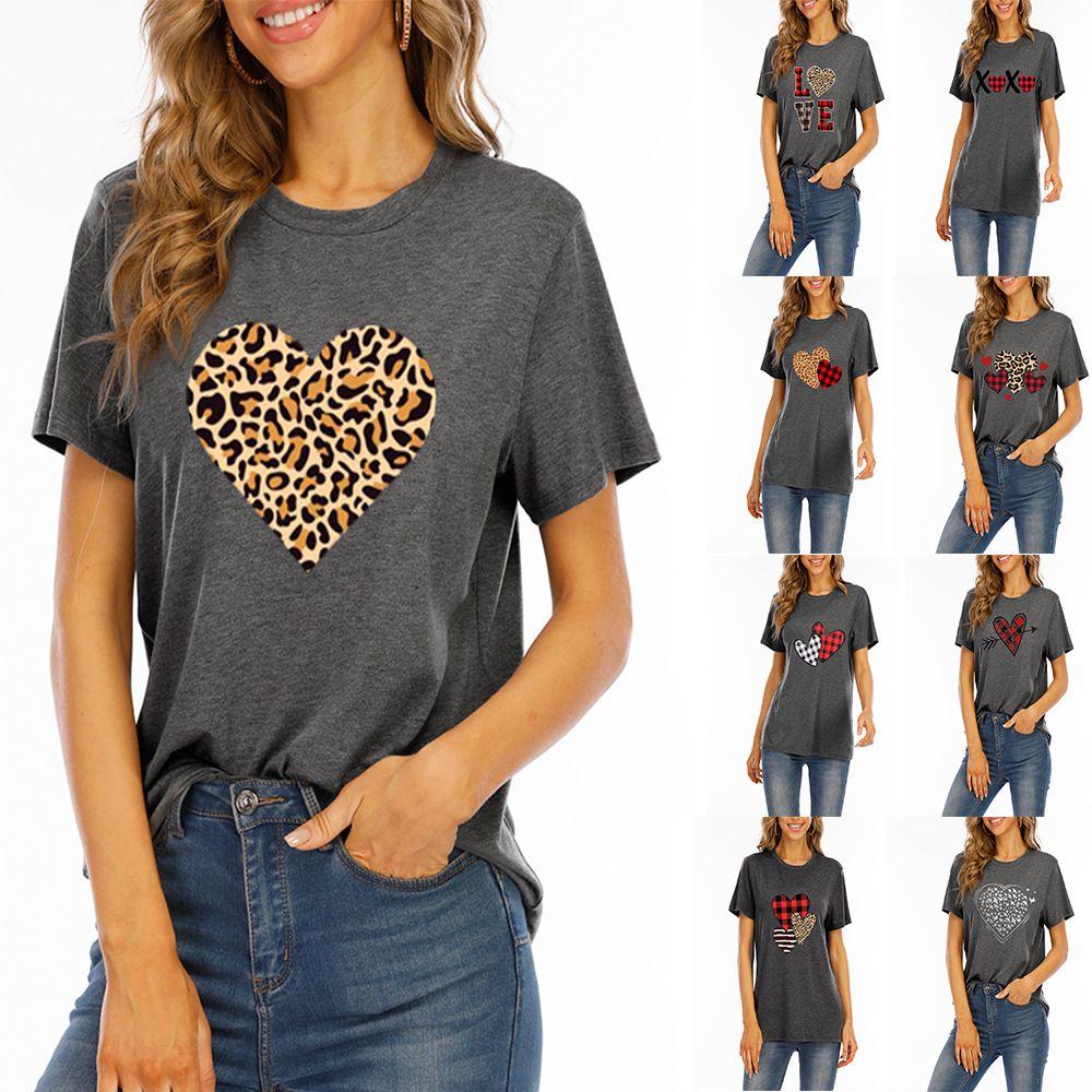Saint Valentin Femme T-shirt Leopard Heart Couple Love Xoxo Lettre à manches courtes Summer T-shirt T-shirt Top T-shirt