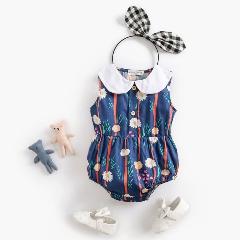 Мультфильм цветок принт девочка розыгрыш кукла воротник без рукавов хлопок ползунки мода свежие милые комбинации для девочек 0-3Y 201127