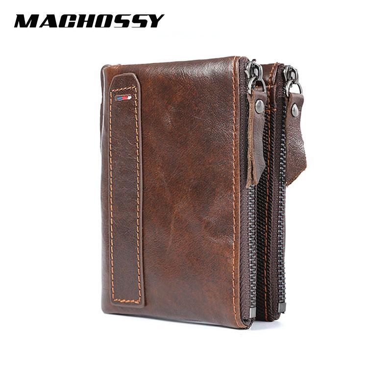 RFID véritable Portefeuille en cuir pour homme de qualité court Porte-monnaie double tirettes Pocket Wallet design Marque Hommes Vintage Portefeuilles en cuir