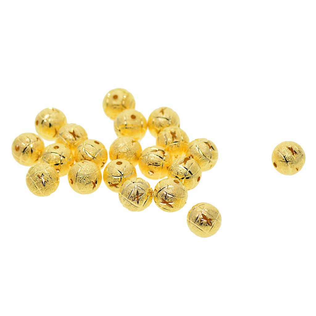 20шт 12мм Полые филигрань Brass Круглый Сыпучие шарики прокладки DIY Изготовление ювелирных изделий