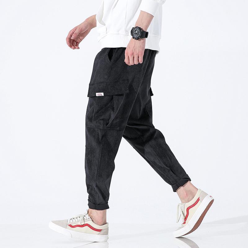 Multi Pocket Corduroy Jogger Pantalones Hombre Flojo Harem Casual Pantalones largos Nice Otoño Streetwear Hip Hop Pants Plus Tamaño M-4XL1