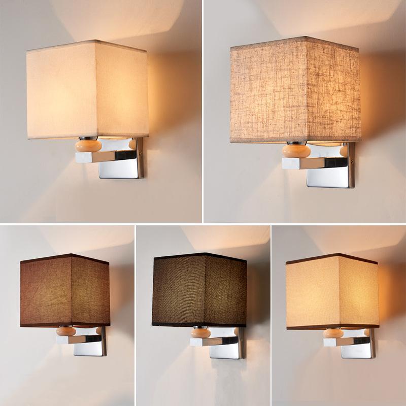 جديد الحديثة الصينية الجدار مصباح فندق غرفة ضيوف السرير الجدار مصباح القماش النسيج الإضاءة تركيبات التلفزيون الخلفية الشمعدان