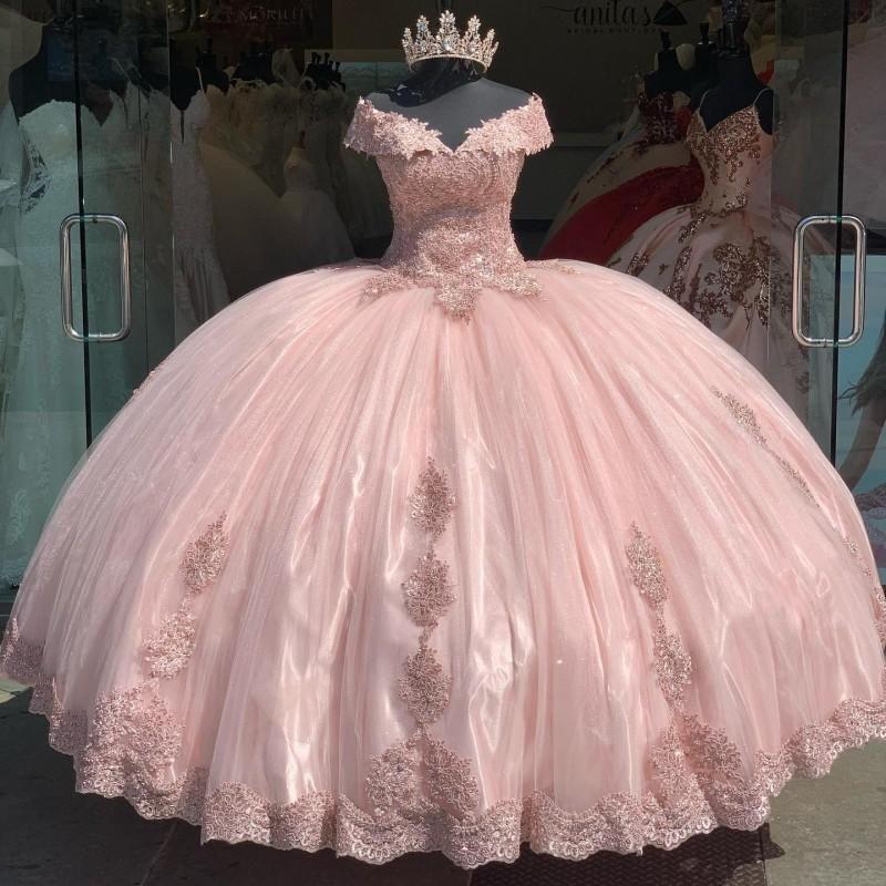 Fuera del hombro Pink Pink Quinceañera Vestidos Applqiue Sweet 16 PROM BUSTS LACE VESTIDOS DE 15 AÑOS XV Vestido