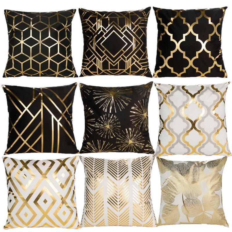 Noel Altın Bronzlaştırıcı Yastık Kapak Dekoratif Yastıklar Moda Seat Minderler Ev Dekorasyonu Geometrik Atma Yastık Koltuk Yastık