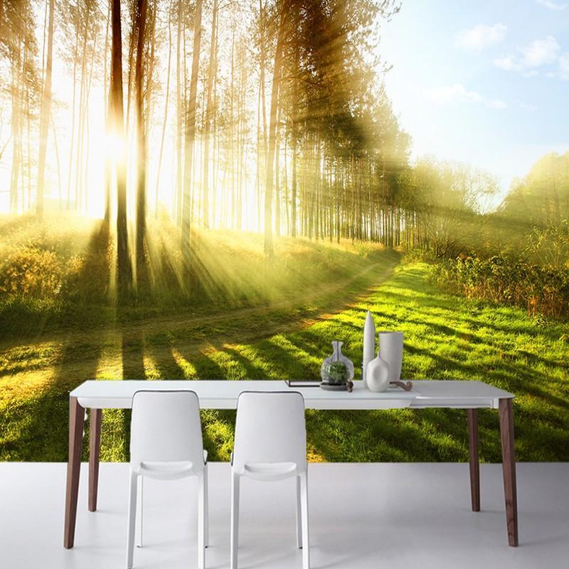 Envío de la gota verde 3D del ojo desnudo Sol maderas Camino cena el fresco del fondo de sala de la sala de TV de pared Pared personalizada