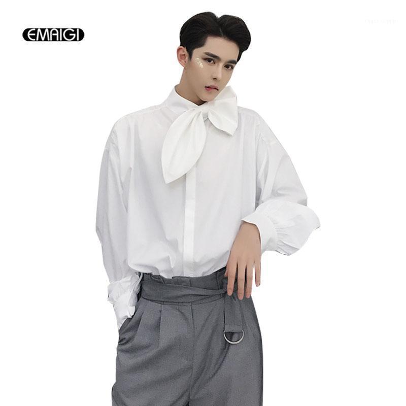 Homens gravata laço folha coleira de manga comprida camisas masculinas moda casual solta estilo gótico vestido camisas fase trajes1