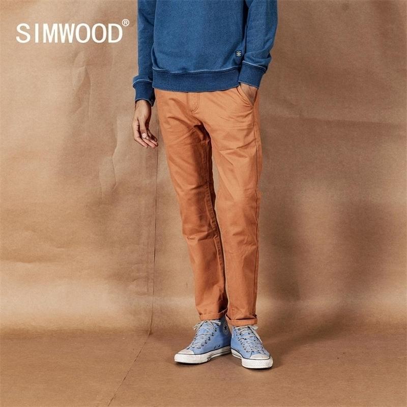 Simwood Spring Nouveau Pantalon Solidé Men Classique Pantalons de base 100% coton Haute Qualité Male Brand Vêtements 190435 201116
