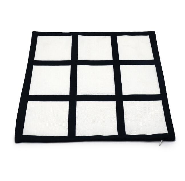 Yastık Kılıfı Süblimasyon 9 Panel Boş Siyah Izgara Dokuma Polyester Isı Transferi Yastık Kapak Atmak Kanepe