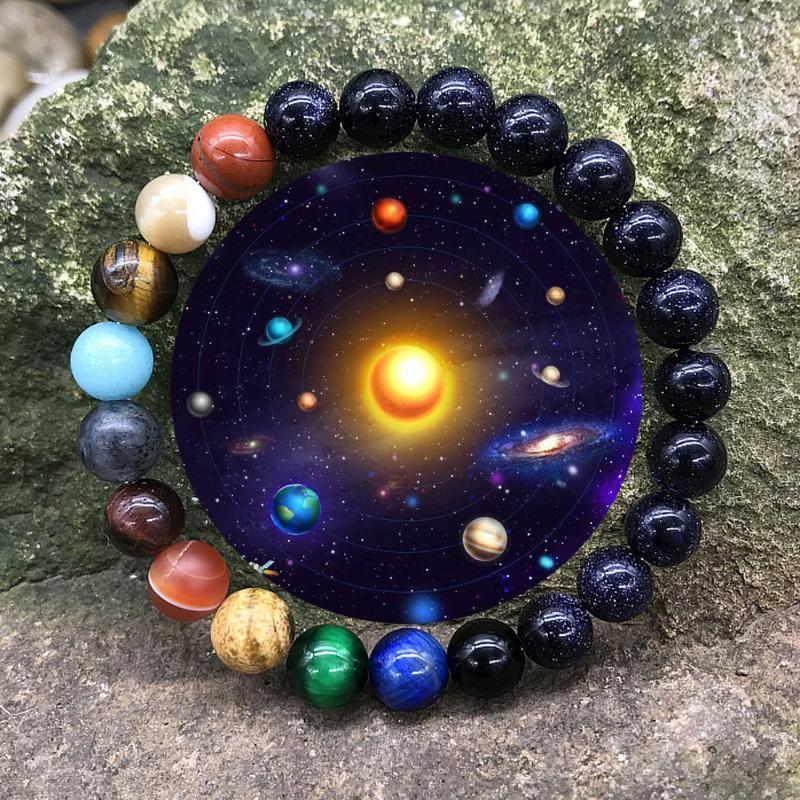 Браслеты очарования натуральный камень восемь планет браслет Вселенная йога чакра солнечная система для мужчин женские украшения
