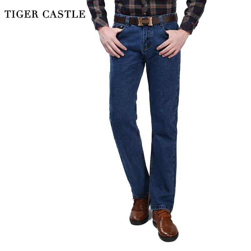 Kaplan Kale Pamuk Erkek Denim Pantolon 2021 Mavi Klasik Erkek Iş Rahat Pantolon Rahat Düz Erkekler Biker Kot
