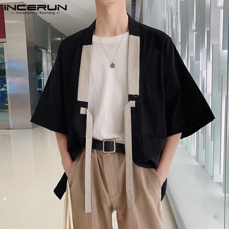 Männer Casual Hemden inaktiv 2021 Chinesischer Stil Männer Hemd Kimono Baumwolle Solide Harajuku Taschen Halbhülse Tops Streetwear Vintage