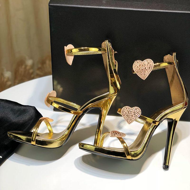 La venta del nuevo zapato de diseñador de moda femenina de cuero de tacón alto sandalia talón tamaño del material original de altura 12,5 cm 35-42