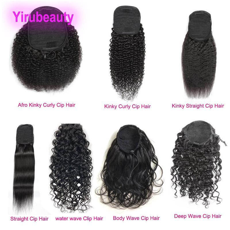 Hint Virgin İnsan Saç Afro Kinky Kıvırcık Düz Ponytails 8-26 inç Derin Dalga Su Dalga Doğal Siyah 1B Remy Midilli Kuyruk