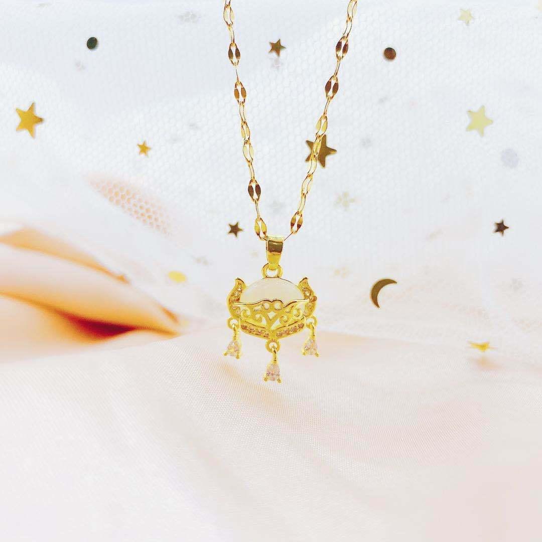 Gold Chain Jade sicurezza Ciondolo Ruyi Blocco Titanio acciaio collana di pietra Cat Eye K oro Ornamenti