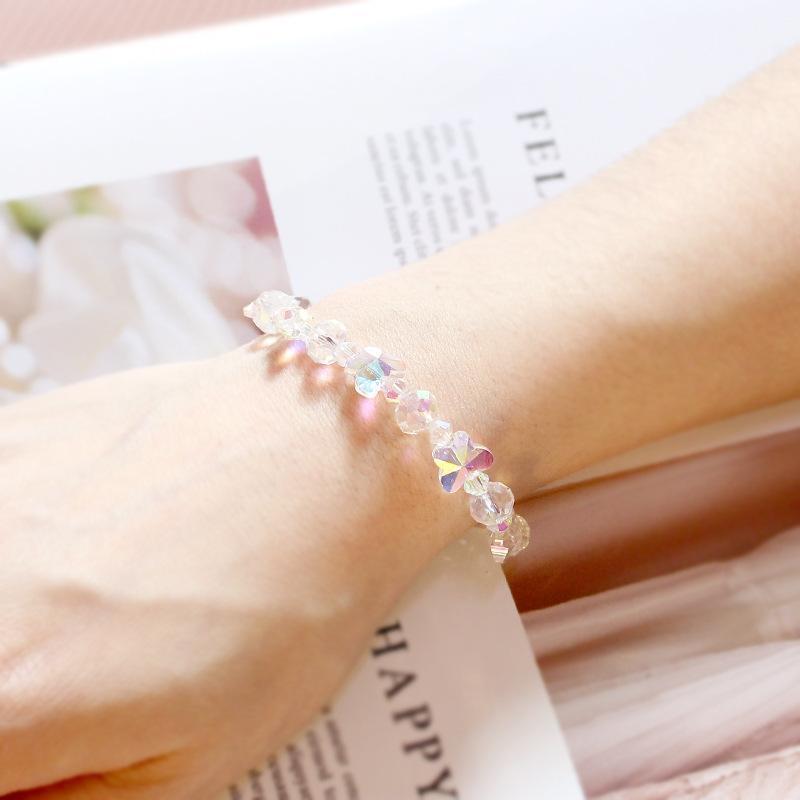 Lüks Kelebek Renkli Kristal Zincir Bilezik Kadınlar Kızlar Için Geometrik Kristal Boncuk Braclet Düğün Bileklik Takı