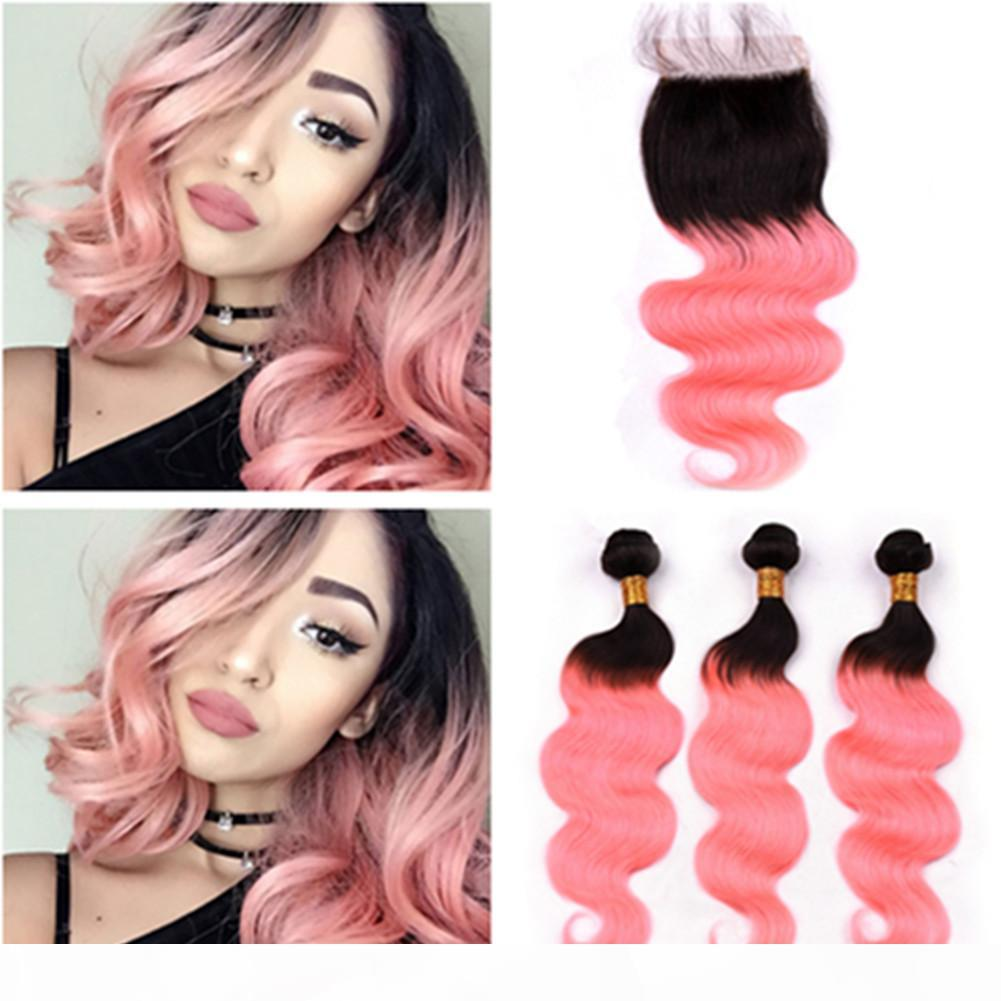 # 1b rosa Ombre onda onda indio cabello humano 3bundos y cierre Ombre Rose Oro Odio ondulado Wavy Weave Raíces negras con cierre de encaje 4x4