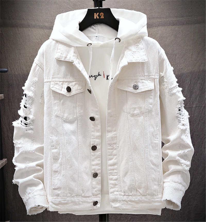 Sonbahar ve kış erkek kot ceket gündelik gevşek kot ceket yırtık