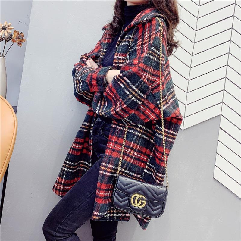 Leiouna tamanhos grandes Casual Camisa Xadrez Meninas camisa de manga comprida solta Mulheres Moda Windbreaker Básico Quente Jacket Casacos 201013