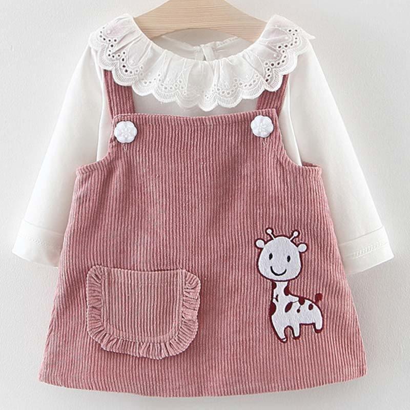 Vestido del bebé del otoño del bebé de la princesa de la muchacha linda ropa de la manga larga de las muchachas tapas de la camiseta vestido del traje de la jirafa de dibujos animados 2pcs 1027