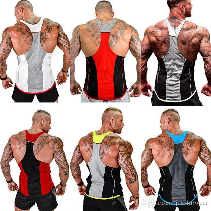 Hombre Verano Gimnasio Fitness Tops Tanques Ropa Ropa Chalecos Sin mangas Colores Patchwork Masculino Slim Fit Tees