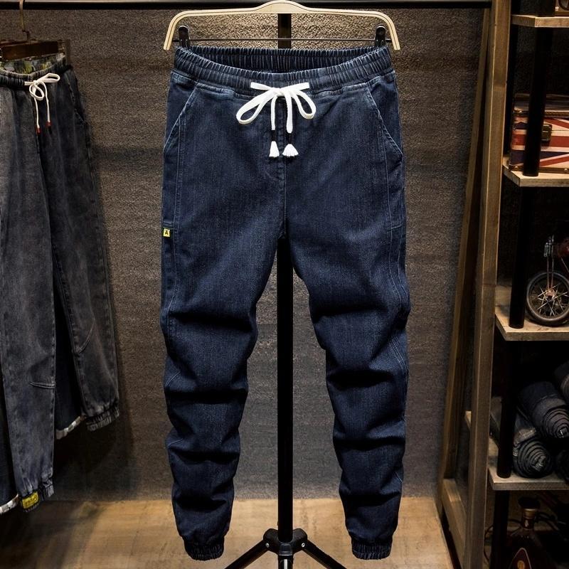 Плюс размер 5XL 6xL 7xL мужской черный синий гарем джинсы осенью новая уличная одежда мода стрейч джинсовые штаны мужские бренды брюки