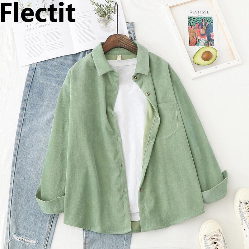 FLECTIT CORDUROY рубашка для женщин с длинным рукавом осложневой воротника передняя кармана на пуговицах рубашки женские топы * 201202