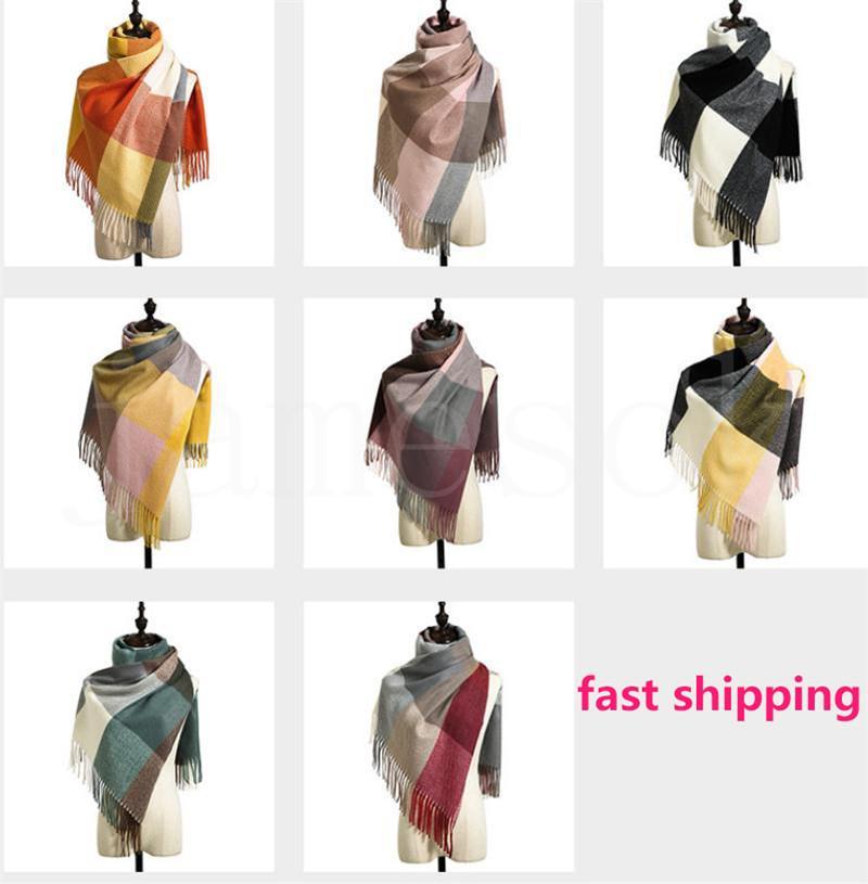 8 Arten Winter Plaid Quaste Schal Tartan Kaschmir Schal Frauen Plaid Decke Schal Neue Designer Acryl Basic Tücher Damen Schals Wraps D