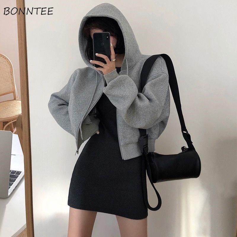 Mujeres conjuntos hembra Outwear Outwear Food Simple Manga larga Gris Mini vestido Booty Ulzzang transpirable de gran tamaño 3xl Casual Rienta Ins