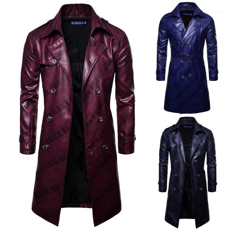 Long Long Britannique Dark Motif Mode Personnalité à double boutonnage Veste en cuir pour homme Slim revers 2020 Automne Nouveau Vêtements1