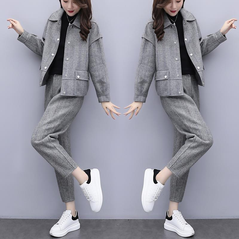 gray 2021 New winter wool two pieces of define jacket + women's fashionable pantsuit pants ladies 2-bun female sets y486 ESYX