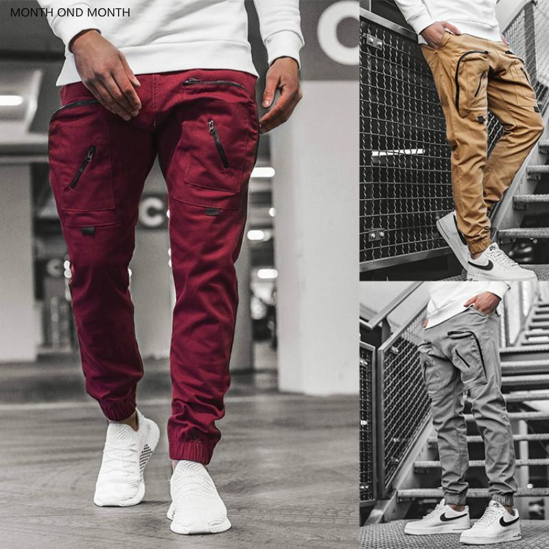 남성 카고 바지 포켓 바지 스트리트 조깅 스웨트 팬츠 패션 힙합 느슨한 바지 남성 지퍼 스포츠 패션 스트리트