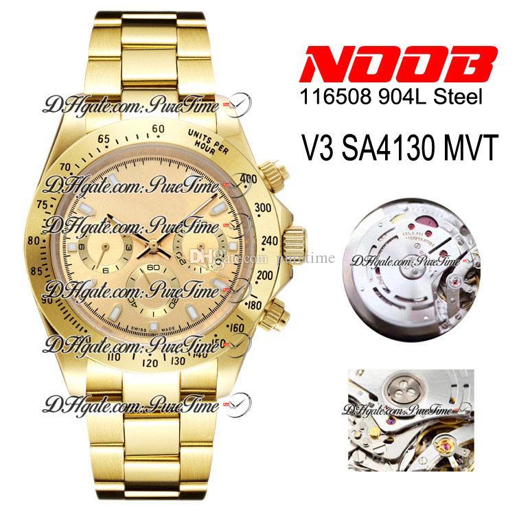 N V3 SA4130 CHRONOGRAFICO AUTOMATICO orologio orologio champagne quadrante champagne 18k oro giallo oro 904L braccialetto cassa in acciaio Bredition Edition 116508 PtrX Puretime 010