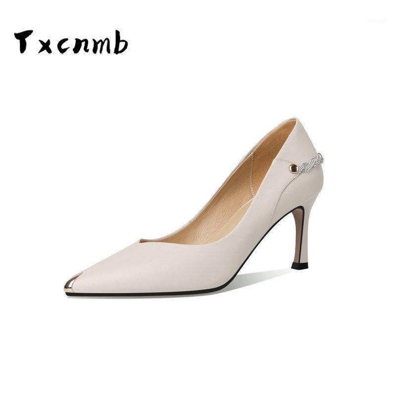 Scarpe da donna puntate in vera punta in vera pelle per le donne Design Design Slip-on Party Lady Pumps Handmade Thin Sof Heels1